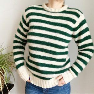 Vintage Sears Striped Green Cream Wool Sweater M